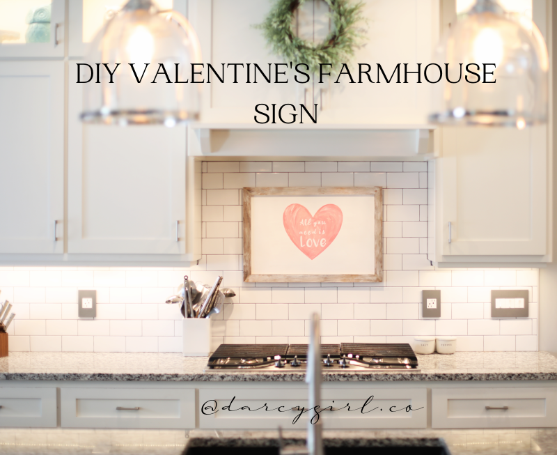 Kitchen with farmhouse sign that says, All you need is Love