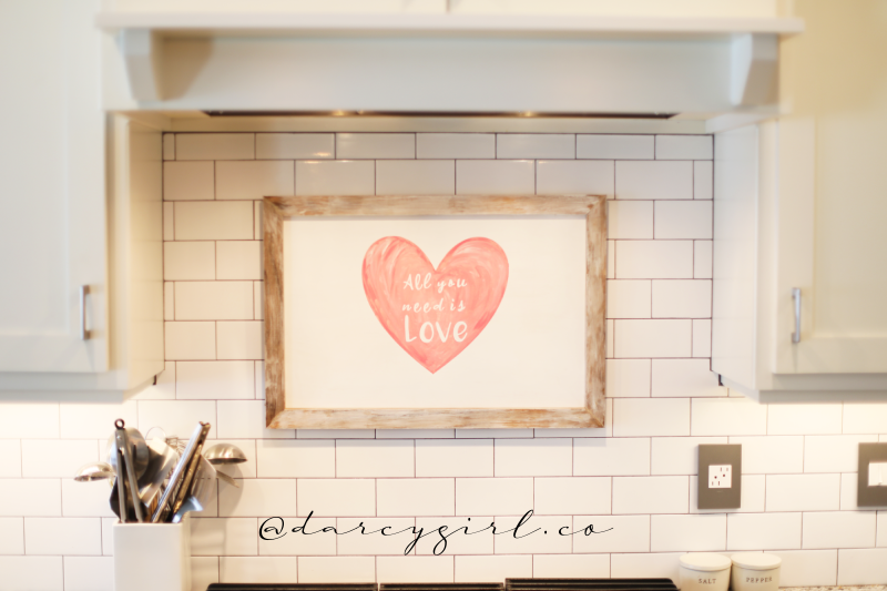 Kitchen with sign that says, All you need is love.
