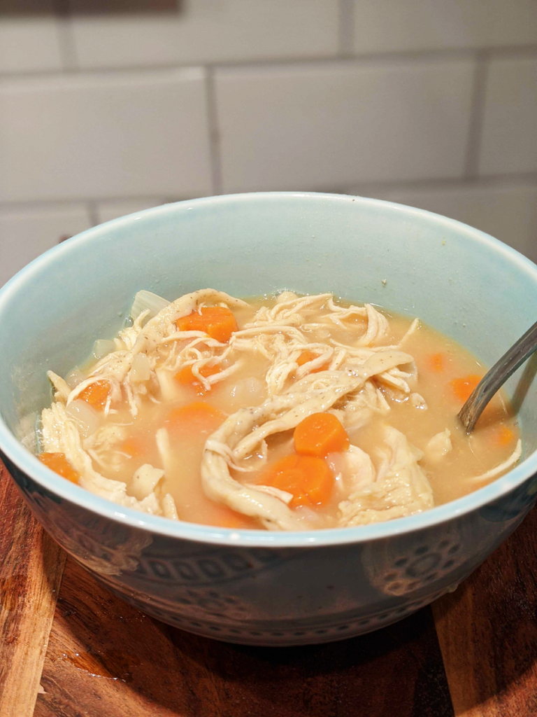 Chicken noodle soup with carrots.