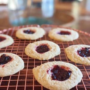 Gluten-free, vegan cream cheese thumbprint cookies