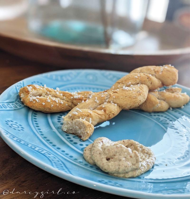 Gluten-free, vegan soft pretzel shaped into twisted rods