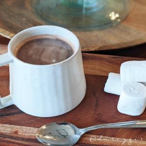 Cup of vegan hot chocolate with vegan marshmallows